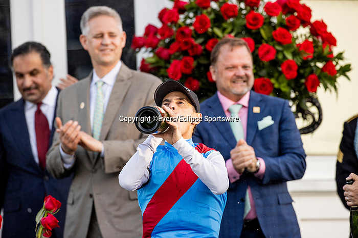 MAY 01, 2021:  John Velazquez celebrates after wining the Kentucky Derby at Churchill Downs in Louisville, Kentucky on May 1, 2021. EversEclipse Sportswire/CSM