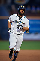 Akron RubberDucks Nellie Rodriguez (12) rounds the bases after hitting a home run during an Eastern League game against the Reading Fightin Phils on June 4, 2019 at Canal Park in Akron, Ohio.  Akron defeated Reading 8-5.  (Mike Janes/Four Seam Images)
