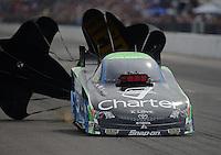 Sept. 30, 2012; Madison, IL, USA: NHRA funny car driver Tony Pedregon during the Midwest Nationals at Gateway Motorsports Park. Mandatory Credit: Mark J. Rebilas-
