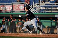 West Virginia Black Bears Brett Kinneman (5) bats during a NY-Penn League game against the Batavia Muckdogs on June 25, 2019 at Dwyer Stadium in Batavia, New York.  Batavia defeated West Virginia 7-3.  (Mike Janes/Four Seam Images)