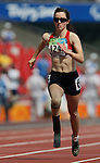 Stefanie Reid of Windsor, Ont. competes in heats of the women's 100 metres at the Paralympic Games in Beijing, Sunday, Sept., 14, 2008. Photo by Mike Ridewood/CPC