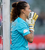 CARSON, CA - FEBRUARY 07: Noelia Bermudez #1 of Costa Rica yells out directions during a game between Canada and Costa Rica at Dignity Health Sports Park on February 07, 2020 in Carson, California.
