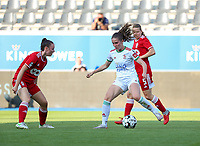 Loredana Humartus (3) of Standard  and Marie Detruyer (17) of OHL in action during a female soccer game between Oud Heverlee Leuven and Standard Femina de Liege on the third matchday of the 2021 - 2022 season of Belgian Womens Super League , Sunday 5 th of September 2021  in Leuven , Belgium . PHOTO SPORTPIX.BE | SEVIL OKTEM
