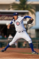 Pitcher Dae-Eun Rhee #49 of the Daytona Cubs delivers a pitch during a game against the Lakeland Flying Tigers at Jackie Robinson Ballpark on June 21, 2011 in Daytona Beach, Florida. (Scott Jontes / Four Seam Images)