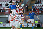Hamilton Academical St Johnstone....04.04.15<br /> Brian Easton's header is saved<br /> Picture by Graeme Hart.<br /> Copyright Perthshire Picture Agency<br /> Tel: 01738 623350  Mobile: 07990 594431