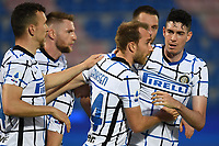 Christian Eriksen of FC Internazionale celebrates with team mates after scoring the goal of 0-1 during the Serie A football match between FC Crotone and FC Internazionale at stadio Ezio Scida in Crotone (Italy), May 1st, 2021. Photo Daniele Buffa / Image Sport / Insidefoto