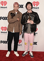 """HOLLYWOOD, CA - MAY 27:  Twenty One Pilots with the award for Alternative Rock Song of the Year at the 2021 """"iHeartRadio Music Awards"""" airing live from The Dolby Theatre in Los Angeles, Thursday, May 27 (8:00-10:00 PM ET live / PT tape-delayed) on FOX. CR: Scott Kirkland/FOX/PictureGroup © 2021 FOX MEDIA, LLC. (Photo by Scott Kirkland/FOX/PictureGroup)"""