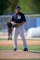 New York Yankees pitcher Greg Weissert (24) gets ready to deliver a pitch during a minor league Spring Training game against the Toronto Blue Jays on March 30, 2017 at the Englebert Complex in Dunedin, Florida.  (Mike Janes/Four Seam Images)