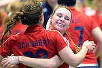 GER - Luebeck, Germany, February 06: After the 1. Bundesliga Damen indoor hockey semi final match at the Final 4 between Berliner HC (blue) and Duesseldorfer HC (red) on February 6, 2016 at Hansehalle Luebeck in Luebeck, Germany. Final score 1-3 (HT 0-1). (Photo by Dirk Markgraf / www.265-images.com) *** Local caption *** Elisa Graeve #26 of Duesseldorfer HC