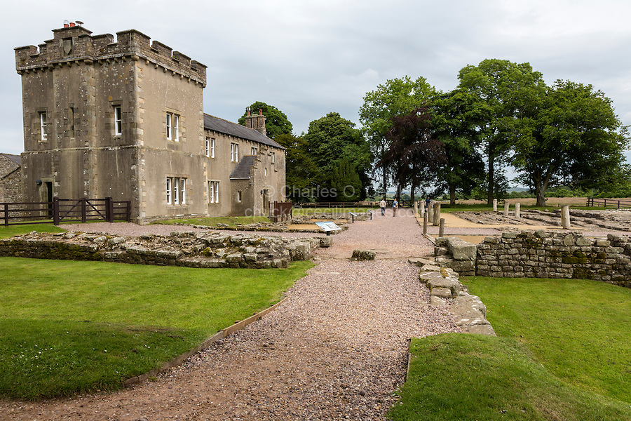 Cumbria, England, UK.  Western Gateway to Birdoswald Fort, Hadrian's Wall Footpath.  The Victorian house dates from the mid-1800s.