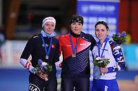 SPEEDSKATING: ERFURT: 19-01-2018, ISU World Cup, Podium 500m Ladies Division A, Vanessa Herzog (AUT), Karolina Erbanova (CZE), Angelina  Golikova (RUS), photo: Martin de Jong