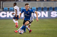 SAN JOSE, CA - MAY 01: Tanner Beason #15 of the San Jose Earthquakes looks up to pass the ball during a game between San Jose Earthquakes and D.C. United at PayPal Park on May 01, 2021 in San Jose, California.