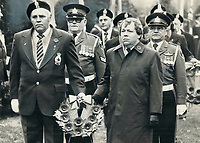 1977 FILE PHOTO - ARCHIVES -<br /> <br /> Lest we forget. Mayor David Crombie laid a wreath at Prospect Cemetery on St. Clair Ave. W. during the 49th annual Remembrance Day sunrise service of the Earlscourt Branch 65 of the Royal Canadian Legion today. John Balmer of Legion stands beside him. The 6 a.m. service coincides with 11 a.m. (French time) signing of World War I armistice. Rev. F. R. Anderson, Branch 65 padre, conducted service.<br /> <br /> Bezant, Graham<br /> Picture, 1977,<br /> <br /> 1977<br /> <br /> PHOTO : Graham Bezant - Toronto Star Archives - AQP