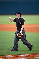 Umpire Jordan Johnson during a game between the Fort Myers Miracle and Bradenton Marauders on August 3, 2016 at McKechnie Field in Bradenton, Florida.  Bradenton defeated Fort Myers 9-5.  (Mike Janes/Four Seam Images)
