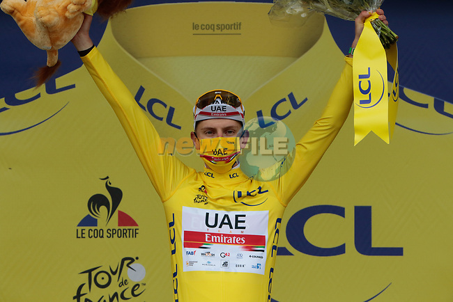 Race leader Tadej Pogacar (SLO) UAE Team Emirates retains the Yellow Jersey at the end of Stage 16 of the 2021 Tour de France, running 169km from Pas de la Case to Saint-Gaudens, Andorra. 13th July 2021.  <br /> Picture: Colin Flockton | Cyclefile<br /> <br /> All photos usage must carry mandatory copyright credit (© Cyclefile | Colin Flockton)