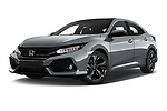 Stock pictures of low aggressive front three quarter view of 2017 Honda Civic Executive 5 Door Hatchback Low Aggressive
