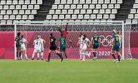 KASHIMA, JAPAN - JULY 27: Alyssa Naeher #1 of the USWNT makes a save during a game between Australia and USWNT at Ibaraki Kashima Stadium on July 27, 2021 in Kashima, Japan.