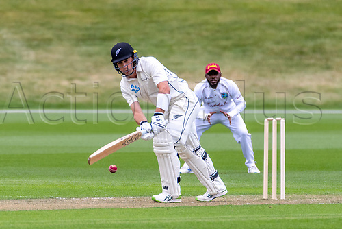 20th November 2020; John Davies Oval, Queenstown, Otago, South Island of New Zealand. NZ A's Will Young edges off his legs during New Zealand A versus  West Indies