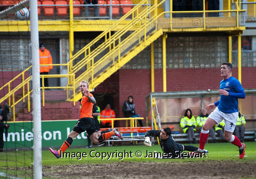 United's Johnny Russell hits the bar in the first half.