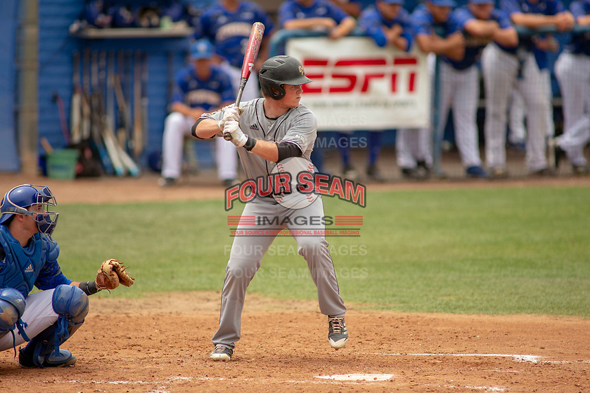 Cal Poly San Luis Obispo Mustangs Myles Emmerson (28) at bat against the UC-Riverside Highlanders at Riverside Sports Complex on May 26, 2018 in Riverside, California. The Cal Poly SLO Mustangs defeated the UC Riverside Highlanders 6-5. (Donn Parris/Four Seam Images)