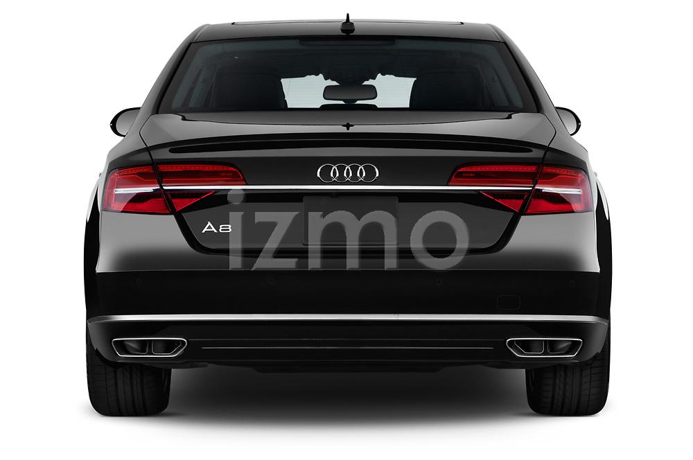Straight rear view of 2015 Audi A8 3.0T SWB quattro tiptronic 4 Door Sedan stock images