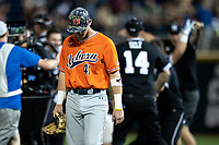 Auburn Tigers outfielder Steven Williams (41) walks off the field after Game 4 of the NCAA College World Series against the Mississippi State Bulldogs on June 16, 2019 at TD Ameritrade Park in Omaha, Nebraska. Mississippi State defeated Auburn 5-4. (Andrew Woolley/Four Seam Images)