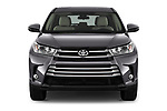 Car photography straight front view of a 2018 Toyota Highlander LE-Plus 5 Door SUV Front View