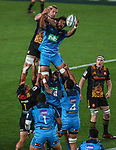 Steven Luatua of the Blues takes a lineout during the Super Rugby Match between the Blues and the Chiefs, Eden Park, Auckland,  New Zealand. Friday 26  May 2017. Photo: Simon Watts / www.bwmedia.co.nz
