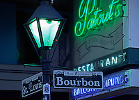 BOURBON STREET sign post with STREET LAMP in the FRENCH QUARTER - NEW ORLEANS, LOUISIANA