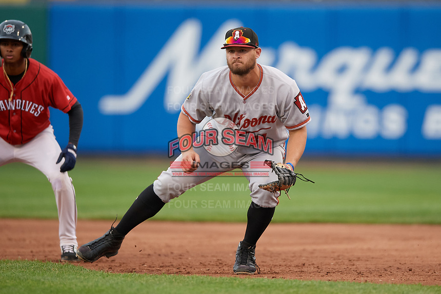 Altoona Curve first baseman Jerrick Suiter (31) during an Eastern League game against the Erie SeaWolves on June 5, 2019 at UPMC Park in Erie, Pennsylvania.  Altoona defeated Erie 6-2.  (Mike Janes/Four Seam Images)