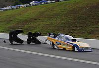Jun. 17, 2012; Bristol, TN, USA: NHRA funny car driver Bob Tasca III during the Thunder Valley Nationals at Bristol Dragway. Mandatory Credit: Mark J. Rebilas-