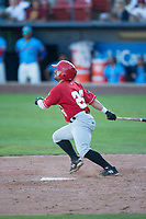 Vancouver Canadians center fielder Hunter Steinmetz (26) follows through on his swing during a Northwest League game against the Spokane Indians at Avista Stadium on September 2, 2018 in Spokane, Washington. The Spokane Indians defeated the Vancouver Canadians by a score of 3-1. (Zachary Lucy/Four Seam Images)