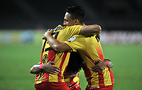 PEREIRA- COLOMBIA, 06-04-2021:Alejandro Piedrahita del Deportivo Pereira celebra después de anotar el  gol de su equipo durante partido por la fecha 17 entre Deportivo Pereira y Deportivo Independiente Medellín  como parte de la Liga BetPlay DIMAYOR 2021 jugado en el estadio Hernán Ramírez Villegas de la ciudad de Pereira. / Alejandro Piedrahita of Deportivo Pereira celebrates after scoring the goal of his team during Match for the date 17 between Deportivo Pererira and Deportivo Independiente Medellin  BetPlay DIMAYOR League I 2021 played at Hernan Ramirez Villegas stadium in Pereira city. Photo: VizzorImage / Ricardo Vejarano / Contribuidor