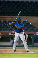 AZL Rangers first baseman Tyreque Reed (5) at bat against the AZL Giants on September 4, 2017 at Scottsdale Stadium in Scottsdale, Arizona. AZL Giants defeated the AZL Rangers 6-5 to advance to the Arizona League Championship Series. (Zachary Lucy/Four Seam Images)