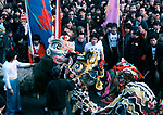 Chinese New Year 1970s UK Dragon dance, Gerrard Street Soho London  England 70s