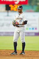 Charleston RiverDogs second baseman Angelo Gumbs (17) on defense against the Greensboro Grasshoppers at NewBridge Bank Park on July 17, 2013 in Greensboro, North Carolina.  The Grasshoppers defeated the RiverDogs 4-3.  (Brian Westerholt/Four Seam Images)