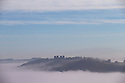 03/10/16 <br /> <br /> Riber Castle pokes through the mist as a cloud inversion shrouds the Derwent Valley, above Matlock Bath in the Derbyshire Peak District.<br /> <br /> All Rights Reserved: F Stop Press Ltd. +44(0)1773 550665   www.fstoppress.com