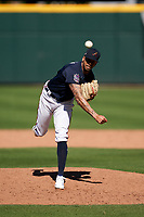 Atlanta Braves pitcher Kurt Hoekstra (79) during a Major League Spring Training game against the Boston Red Sox on March 7, 2021 at CoolToday Park in North Port, Florida.  (Mike Janes/Four Seam Images)