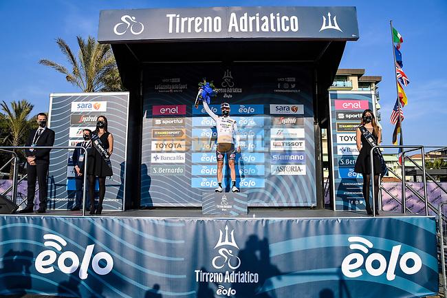 Mattia Bais (ITA) Androni Giocattoli-Sidermec wears the first young riders Maglia Bianca at the end of Stage 1 of Tirreno-Adriatico Eolo 2021, running 156km from Lido di Camaiore to Lido di Camaiore, Italy. 10th March 2021. <br /> Photo: LaPresse/Gian Mattia D'Alberto   Cyclefile<br /> <br /> All photos usage must carry mandatory copyright credit (© Cyclefile   LaPresse/Gian Mattia D'Alberto)