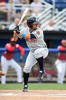 Connecticut Tigers catcher Tim Remes (56) at bat during the first game of a doubleheader against the Batavia Muckdogs on July 20, 2014 at Dwyer Stadium in Batavia, New York.  Connecticut defeated Batavia 5-3.  (Mike Janes/Four Seam Images)