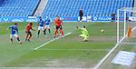 21.02.2021 Rangers v Dundee Utd: Ianis Hagi diverts the ball past Benjamin Siegrist to score