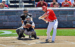 16 June 2012: Washington Nationals outfielder Xavier Nady in action against the New York Yankees at Nationals Park in Washington, DC. The Yankees defeated the Nationals in 14 innings by a score of 5-3, taking the second game of their 3-game series. Mandatory Credit: Ed Wolfstein Photo