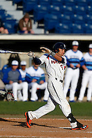 Austin Davidson #3 of the Pepperdine Waves bats against the Seton Hall Pirates at Eddy D. Field Stadium on March 8, 2013 in Malibu, California. (Larry Goren/Four Seam Images)