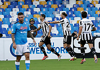 11th September 2021; Maradona Stadium, Naples, Italy; Serie A football, SSC Napoli versus Juventus  FC: Alvaro Morata of Juventus celebrates after scoring for 1- 0 in the 11th minute