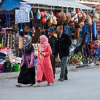 Essaouira, Morocco.  Men and Women Walking in Avenue de l'Istiqlal.