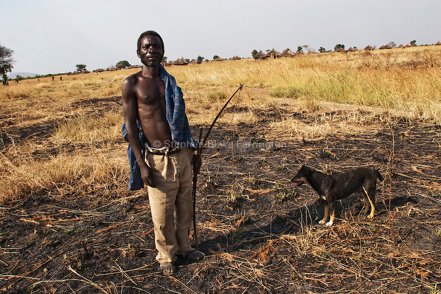 Local Man hunting with bow in Souther Sudan