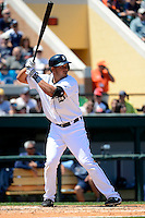 Detroit Tigers shortstop Jhonny Peralta #27 during a Spring Training game against the Tampa Bay Rays at Joker Marchant Stadium on March 29, 2013 in Lakeland, Florida.  (Mike Janes/Four Seam Images)