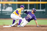 TCU Horned Frogs designated hitter Connor Wanhanen (16) slides into second base as LSU Tigers second baseman Jared Foster (17) applies the tag in Game 10 of the NCAA College World Series on June 18, 2015 at TD Ameritrade Park in Omaha, Nebraska. TCU defeated the Tigers 8-4, eliminating LSU from the tournament. (Andrew Woolley/Four Seam Images)