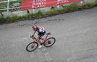 Steff Cras (BEL/Lotto Soudal) up the climb towards La Plagne (HC/2072m/17.1km@7.5%) <br /> <br /> 73rd Critérium du Dauphiné 2021 (2.UWT)<br /> Stage 7 from Saint-Martin-le-Vinoux to La Plagne (171km)<br /> <br /> ©kramon