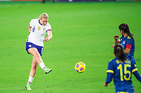 ORLANDO, FL - JANUARY 18: Lindsey Horan #9 of the USWNT kicks the ball during a game between Colombia and USWNT at Exploria Stadium on January 18, 2021 in Orlando, Florida.